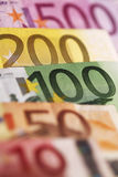 Background of euro bills. Royalty Free Stock Photo
