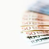 Background of euro bills bank notes with shallow focus Stock Photography