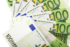 Background of euro bills. Lot of money out of the euro banknotes. Success in business Stock Photos