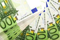 Background of euro bills. Lot of money out of the euro banknotes. Success in business Royalty Free Stock Photography