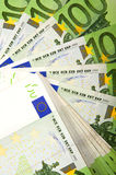 Background of euro bills. Lot of money out of the euro banknotes. Success in business Royalty Free Stock Photo