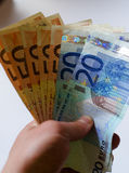 Background of euro bills. Shallow focus. Royalty Free Stock Photo