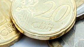 Background - 20 euro cent. Close up of 20 euro cent coins Stock Image