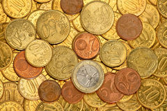Background of Euro coins Royalty Free Stock Photos