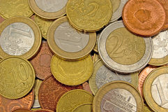 Background of euro coins Royalty Free Stock Photography