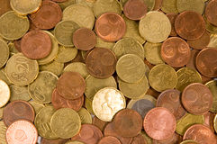 Background of euro coins isolated. On a white background royalty free stock photography