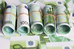 Background of Euro currency, Euro rolls Royalty Free Stock Photos