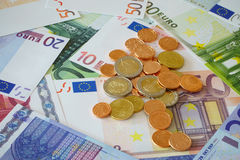 Background with Euro currency. Background made of Euro banknotes and coins Royalty Free Stock Photo