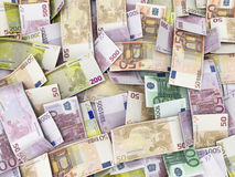 Background with Euro Money Banknotes Royalty Free Stock Photos
