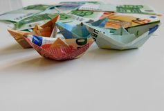 Money, euro, ship, cash, bills stock photos