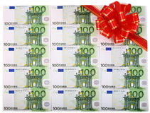 Background of euro with red bow. Holiday background of euro with red bow Stock Photo