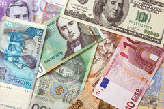 Background of european currencies. Background of different european and american currencies. View from above Stock Photos