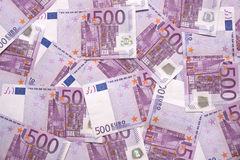Background of european currency 500 notes Royalty Free Stock Images