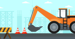 Background of excavator on construction site. Stock Image