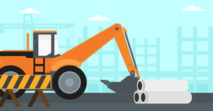 Background of excavator on construction site. Royalty Free Stock Image