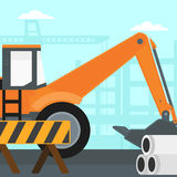 Background of excavator on construction site. Royalty Free Stock Photos