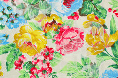 Background fabric. Close-up of a floral print on fabric for padded Royalty Free Stock Images