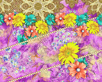 Background fabric pattern With Flower. Fabric Print Colorful Background Design Royalty Free Stock Photos