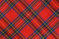 Fabric with red and blue Tartan-type Scottish designs and yellow. Background of fabric with red and green Tartan-type Scottish designs and yellow lines Royalty Free Stock Photo