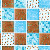 Background of fabric scraps. Patchwork. Seamless pattern. Waterc Stock Photos