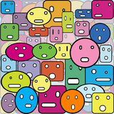 Background with faces made of geometrical shapes Stock Photo