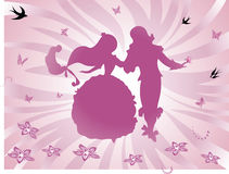 Background Fairy tale. Dancing Prince and Princess - Abstract Background Pink Royalty Free Stock Image