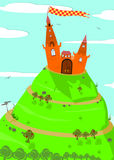 Background with fairytale castle. Fairytale castle on top of a mountain covered with grass and trees vector illustration