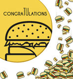 Background, falling burgers for design cards and other. Vector Royalty Free Stock Photo