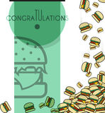 Background, falling burgers for design cards and other. Vector Royalty Free Stock Image