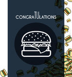Background, falling burgers for design cards and other. Vector Royalty Free Stock Images