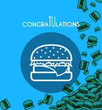 Background with falling burgers and overlay colors for design Stock Photos