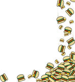 Background of the falling burgers. Preparation for design Royalty Free Stock Photography