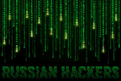 Background with falling cyrillic symbols and inscription Russian Hackers. Background in a matrix style with falling cyrillic symbols and inscription Russian Royalty Free Stock Image
