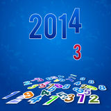 2014  background with falling and fallen numbers Royalty Free Stock Photography