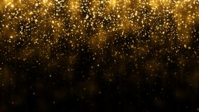 Background with falling golden glitter particles. Falling gold confetti with magic light beautiful light background