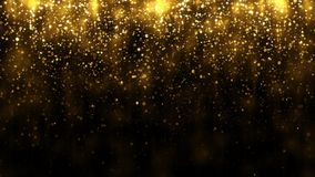 Background with falling golden glitter particles. Falling gold confetti magic light. Beautiful light background. Seamless loop