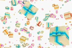 Background with falling presents Royalty Free Stock Images