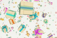 Background with falling presents Stock Image