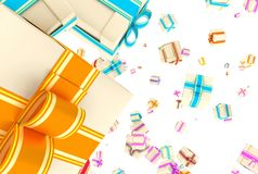 Background with falling presents Stock Photos