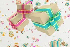 Background with falling presents Stock Photography