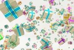 Background with falling presents Royalty Free Stock Image