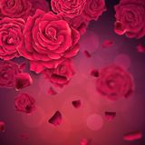 Background with falling realistic roses and petals. royalty free stock photos