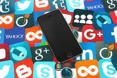Background of famous social media icons with iPhone Royalty Free Stock Photo