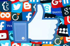 Background of famous social media icons. Kiev, Ukraine - January 11, 2016: Background of famous social media icons with Facebook like thumb up such as: Facebook stock images