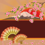 Background with fan, mountain and sakura Stock Photography