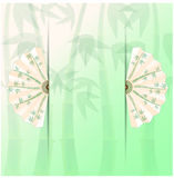 Background with fans and bamboo. Green background with fans and bamboo Stock Photo