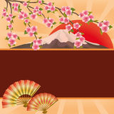Background with fans, mountain and Japanese cherry. Oriental background with two folding fans, mountain, red sun and branch of blossoming sakura - Japanese Royalty Free Stock Photos