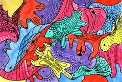 Background fantastic animals hand drawing watercolor Royalty Free Stock Photo