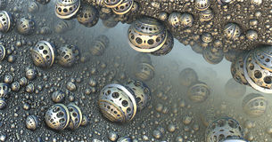 Background with fantastic 3D spheres Royalty Free Stock Photo