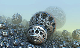 Background with fantastic 3D spheres Royalty Free Stock Photos